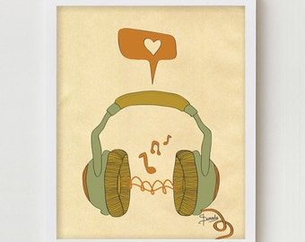 "Music Art Print, Digital Print Wall Decor, ""MUSIC"" Giclee Print Artwork, Music Love Giclee Print, Retro Music Headphones Giclee Print"