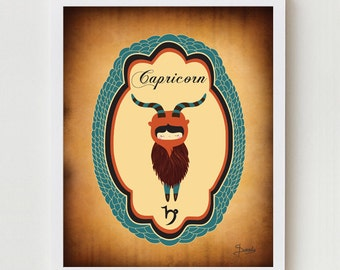 CAPRICORN Zodiac Digital Print Zodiac Sign, Astrological Sign Wall Decor, Capricorn Digital Illustration Birthday Gift, Astrology Wall Decor