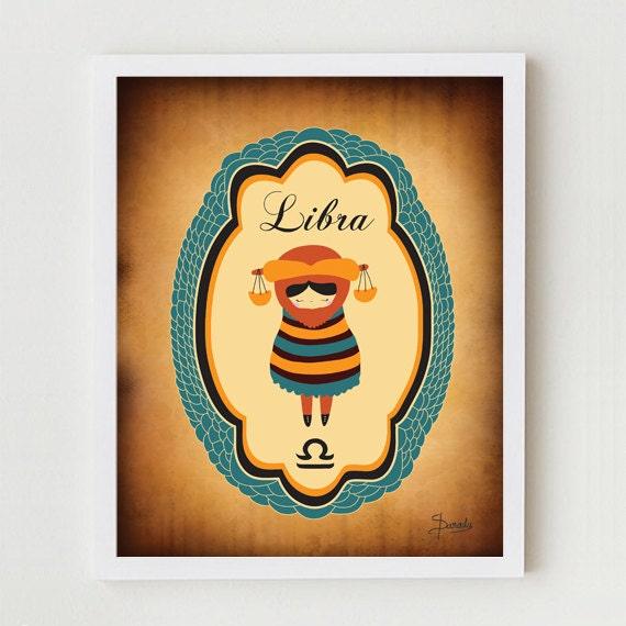 "LIBRA Zodiac Astrological Sign, 8x10 Indie Libra Constellation Art Print / Horoscope Poster ""Libra"" Birthday Gift, Libra Sign"