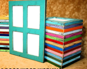 Collage picture frame, 4) 6x8, 5x7 or 4x6 frame, Multi opening frame, colored frame, window pane frame, Colorful 5x7 frame