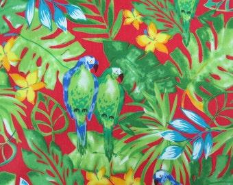 2616B -- Retro Parrot in Red, Tropical Bird Fabric, Tropical Jungle Bird, Animal Fabric