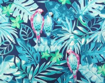 2616A -- Retro Parrot in Blue, Tropical Bird Fabric, Tropical Jungle Bird, Animal Fabric