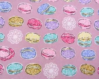 2621E - Sweet Macaroon Fabric in Puce, Afternoon Tea Time, Sweets Fabric , Macaroon Fabric
