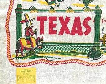 Vintage Souvenir Tablecloth TEXAS State Map Cactus Cloth Square Table Cloth