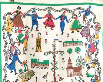 Vintage Tea Towel, Linen Towel, SWEDISH Folk Dancers, Souvenir Towel 1940s, Easter Cross