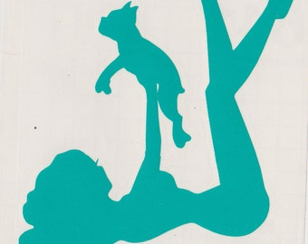 Boston Terrier and Pin Up Silhouette, Aqua Vinyl Decal