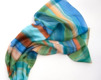 Ocean Striped Silk Scarf/ Hand painted scarf/ Blue green scarf shawl/ Summer scarves/ Woman fashion scarves/ Silk painting/ Birthday gift he