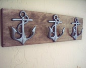 Anchor wall hooks, beach themed coat rack, bathroom towel hooks, housewarming gift, rustic wood boards
