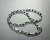 Necklace Gray Moonstone Gemstones and Gray Glass Beads 20.5 Inches