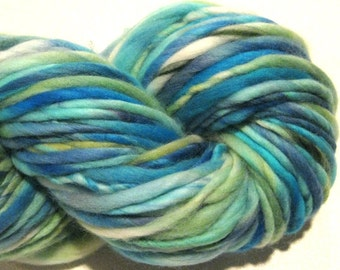 Handspun Yarn Harborside 110 yards hand dyed merino wool blue yarn green yarn waldorf doll hair knitting supplies crochet supplies