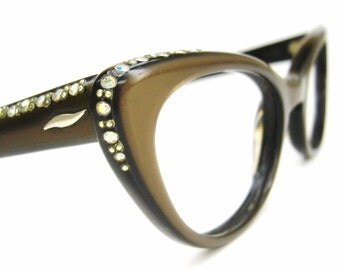 Vintage Satin Brown Cat Eye Glasses Eyeglasses Sunglasses Atomic Frame