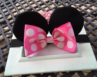 Baby Minnie Ears Girls Stretch Headband Hot Pink Polka Dot Bow Mouse Ears Band Photography Prop