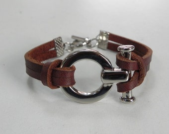 Leather Bracelet Leather Cuff Two Strand Leather