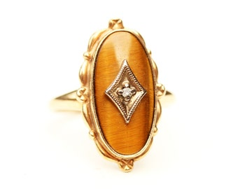 Tigers Eye Ring, Diamond Ring, Oval Tigers Eye Ring, Gold Tigers Eye Ring, Brown Stone Ring, Tigers Eye Ring, Gold Ring, Size 5 Ring, Ring