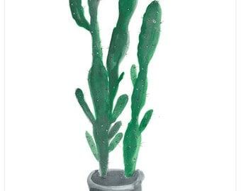 cactus plant  flower print watercolour art decor home ink graphic poster