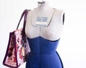 NOS 1960's Needlepoint Bag / Floral Carpet Bag / Mod 60's Tote