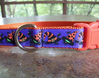 Witch Hat Halloween Dog Collar, Side Release Buckle Style Sizes M - L - XL