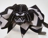Star Wars Inspired Headband - Fun and Funky Force with Flair - Chevron Print Bow with Darth Vader Felt Embellishment Center