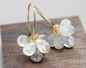 Moonstone Flower Earrings, June Birthstone Jewelry, White Blossoms Wedding, Flower Earrings