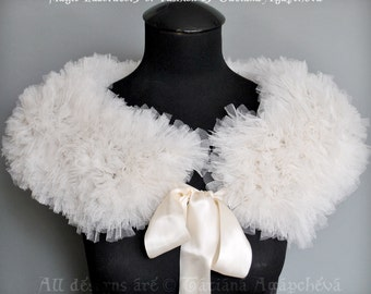 Wedding Cape Feathery Tulle Textures, Free Shipping, WHITE ANGEL, Cape, Cover Up, Capelet, Shawl, Soft Mesh Gauze Voile Fabric, 2015