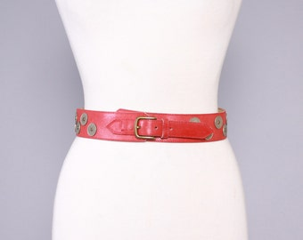 80s KENZO Red LEATHER BELT / 1980s Ethnic French Coins Studded Bohemian Belt