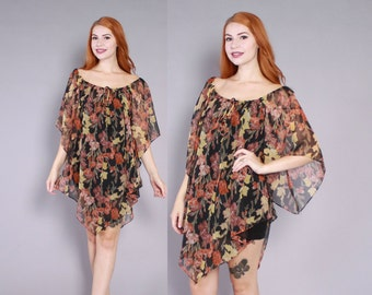 70s SHEER Floral DRESS / 1970s Oversized Boho Pointed Sleeve Tunic