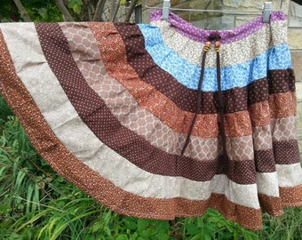 Quilt scrap skirt recycled material womens small- girls lrg drawstring 32 inch waist twirly and colorful hippie festival gypsy ecofriendly