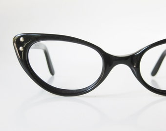 1960s Black Cat Eye Glasses Eyeglasses Vintage Retro Optical Frames Vogue USA American Made 60s Sixties Mid Century Modern Mod