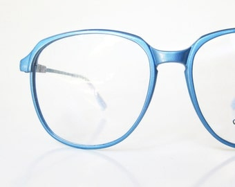 Metallic Blue Eyeglasses 1970s Oversized Womens Ladies Glasses Eyeglass Frames Round Ice Baby Frost Shiny Optical 70s Japan Carbon