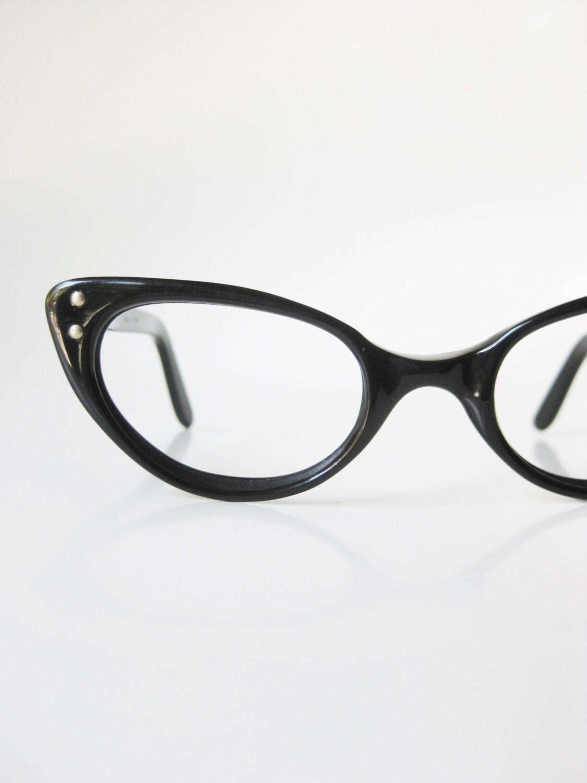 1960s black cat eye glasses eyeglasses vintage retro optical