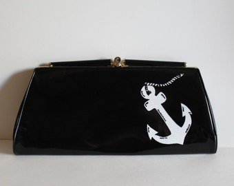 Prom Purse - VINTAGE black CLUTCH with handpainted anchor