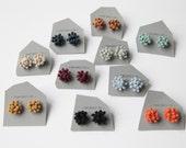 Burgundy Dahlia crochet stud earrings