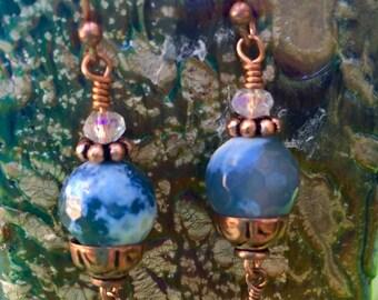 Petite Faceted Chalcedony Quartz Dangle Earrings OOAK