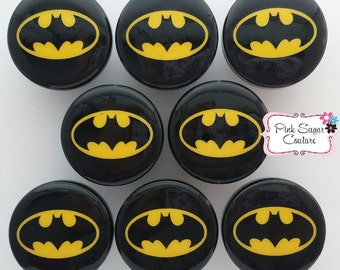 8 BATMAN Knobs BLACK SUPERHEROS  Handmade m2m Kids Nursery Room Bedding Drawer Pull Kids Decor boys girls