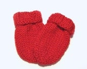 Hand Knit Red Baby Mittens, Ready To Ship, 3 to 12 Months Infant Thumbless Mitts Warm Clothing Baby Girl Gift Baby Boy Gift Handmade Mittens