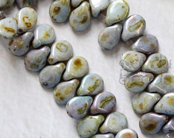 Czech Glass Alabaster color, Blue, Pip Beads, Top Drilled Bead, Horizontal Drill Pip Bead, Czech Glass Tear Drop, 5x7mm Beads Gray Beads