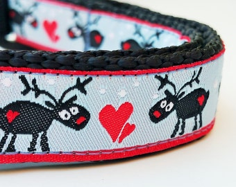 Oh Deer it's almost Christmas - Dog Collar / Handmade / Adjustable / Pet Accessories / Holiday / Gift Idea