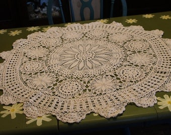 Vintage Large Round Hand Crocheted Doily Table Cover 32 Inches