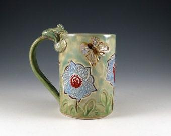 Large Blue Flower Pottery Coffee Mug - Handmade Ceramic Mug with Butterfly  and Frog - Pale Mint Green - Botanic2Ceramic - 397