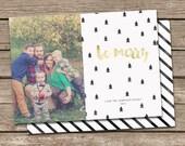 Photo Christmas Card Template: Gold Be Merry Custom Photo Holiday Card Printable
