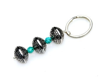 Gift for Her Key Chain Turquoise Southwest Key Ring Silver Beads Feminine Keychain Country Cowgirl Chic Blue Under 20 Dollars Mei Faith
