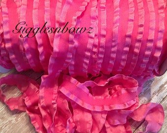 7/8 inch DOUBLE RUFFLE Satin Ribbon- HOT PiNK Ruffle Ribbon Great for Hair bows Scrapbooking Crafts- Ribbon by the Yard