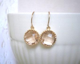 Blush Earrings, Blush Champagne, Gold Earrings, Mother Gift, Best Friend Birthday, Sister Gift
