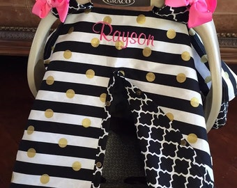 MOD Baby Carseat Cover - Black Stripe and Gold Dot with Black Quatrefoil -  Bows and Monogram INCL - All Cotton - Baby Girl