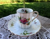Vintage Teacup Tea Cup and Saucer demitasse shabby pink yellow flowers