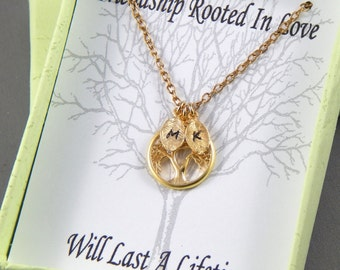 Friendship Necklace - Best Friends Initial Necklace Hand Stamped Necklace Tree Of Life Gold Necklace