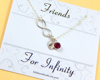 Friendship Necklace, infinity personalized necklace and card set, best friend, sisters necklace, birthstone necklace