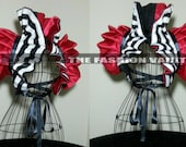 Reversible Harley Quinn Dramatic Cosplay Bolero Shrug EMO Stripes Halloween costume RINGMASTER  Circus  #3
