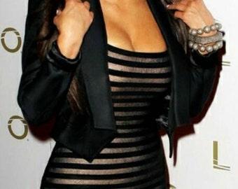 Get the look of Kim Kardashian Handmade Sheer  Bodycon Tank Dress