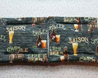 blue beer ale hand quilted set of 2 potholders hot pads